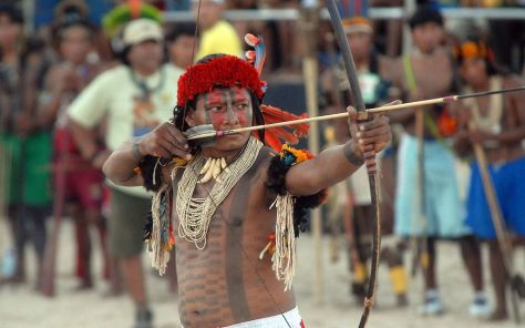 A Rikbaktsa archer competes at Brazil's Indigenous Games